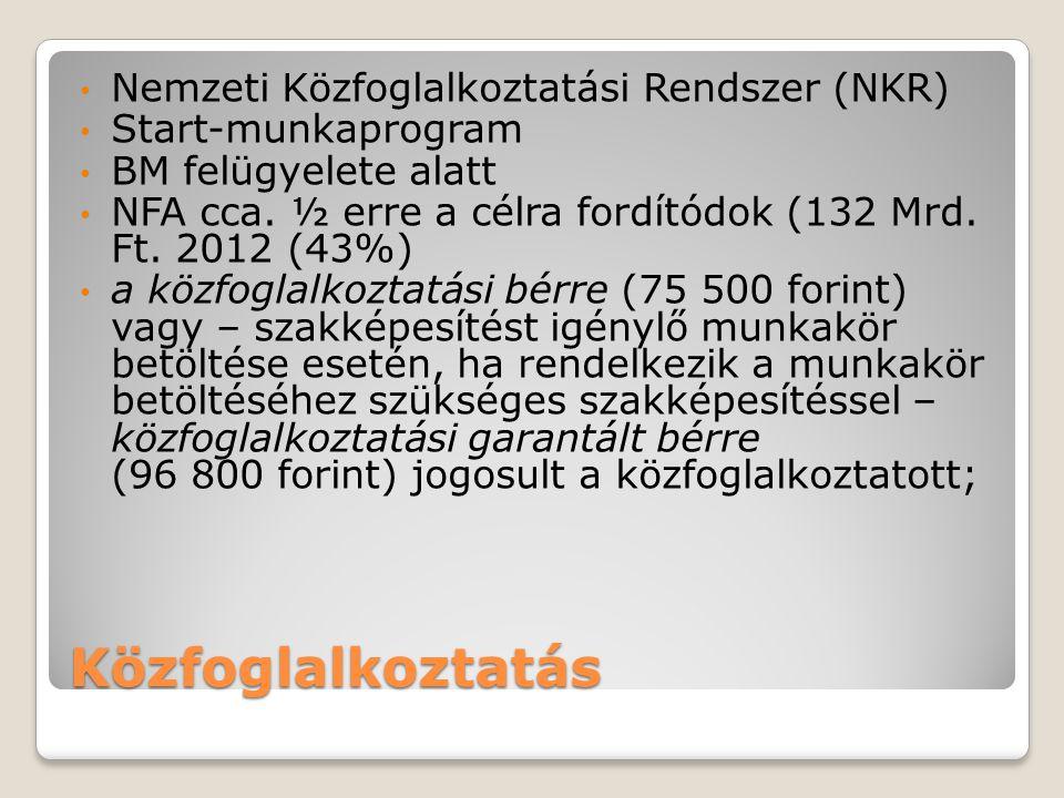 Közfoglalkoztatás Nemzeti Közfoglalkoztatási Rendszer (NKR) Start-munkaprogram BM felügyelete alatt NFA cca.