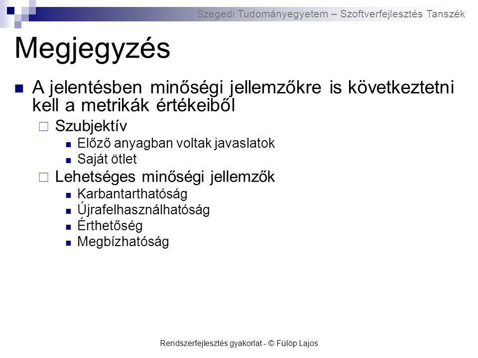 Szegedi Tudományegyetem – Szoftverfejlesztés Tanszék Rendszerfejlesztés gyakorlat - © Fülöp Lajos Megjegyzés A jelentésben minőségi jellemzőkre is köv