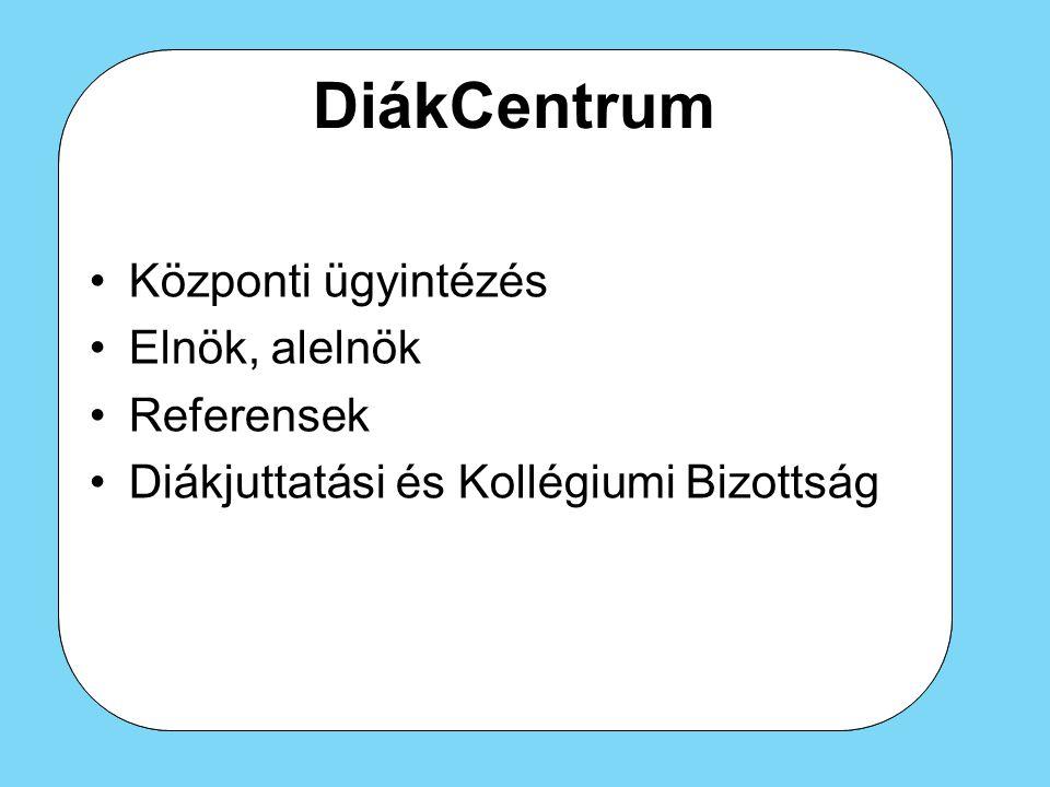 DiákCentrum Központi ügyintézés Elnök, alelnök Referensek Diákjuttatási és Kollégiumi Bizottság