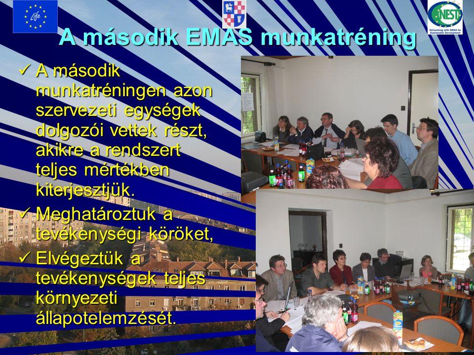 A második EMAS munkatréning A második munkatréningen azon szervezeti egységek dolgozói vettek részt, akikre a rendszert teljes mértékben kiterjesztjük.