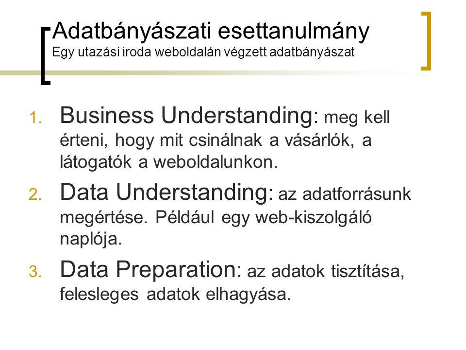 Adatbányászati esettanulmány Egy utazási iroda weboldalán végzett adatbányászat 1. Business Understanding : meg kell érteni, hogy mit csinálnak a vásá