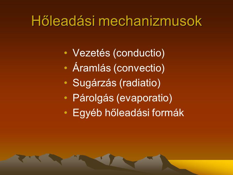 Hőleadási mechanizmusok Vezetés (conductio) Áramlás (convectio) Sugárzás (radiatio) Párolgás (evaporatio) Egyéb hőleadási formák