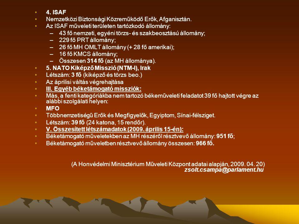 4. ISAF Nemzetközi Biztonsági Közreműködő Erők, Afganisztán. Az ISAF műveleti területen tartózkodó állomány: –43 fő nemzeti, egyéni törzs- és szakbeos