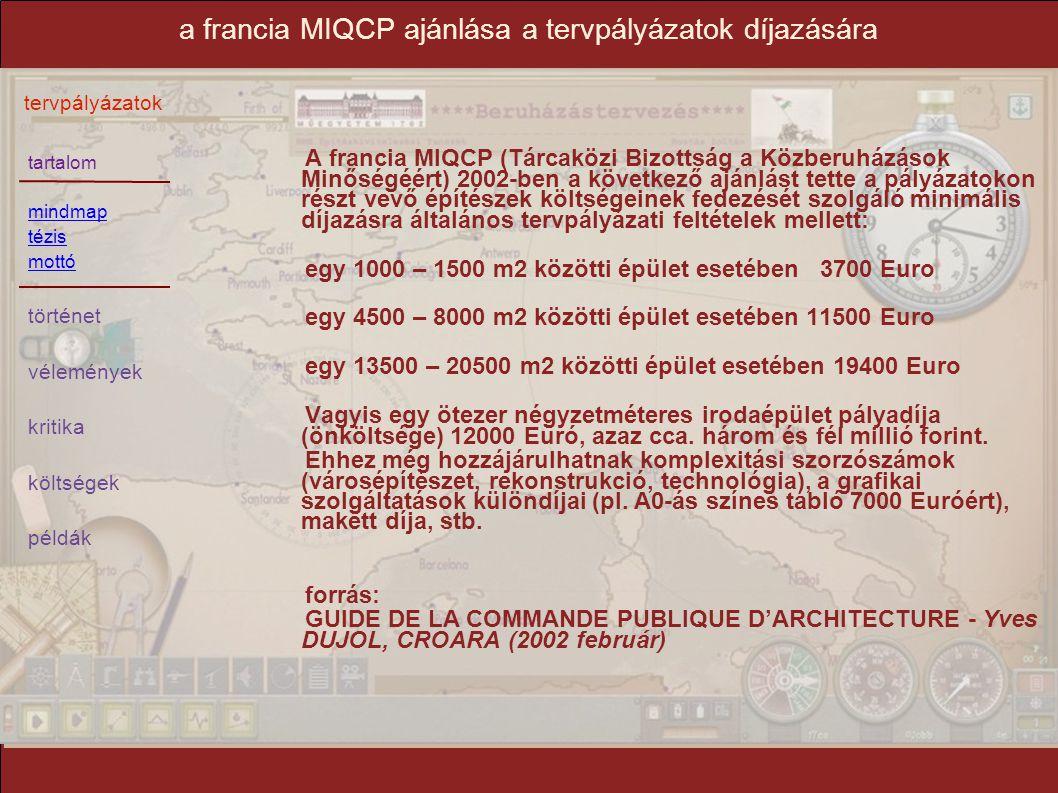 tartalom mindmap tézis mottó történet vélemények kritika költségek példák tervpályázatok a francia MIQCP ajánlása a tervpályázatok díjazására A franci