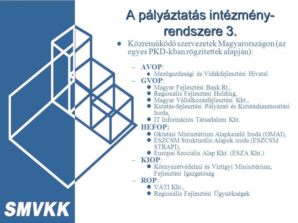 A pályáztatás intézmény- rendszere 3.