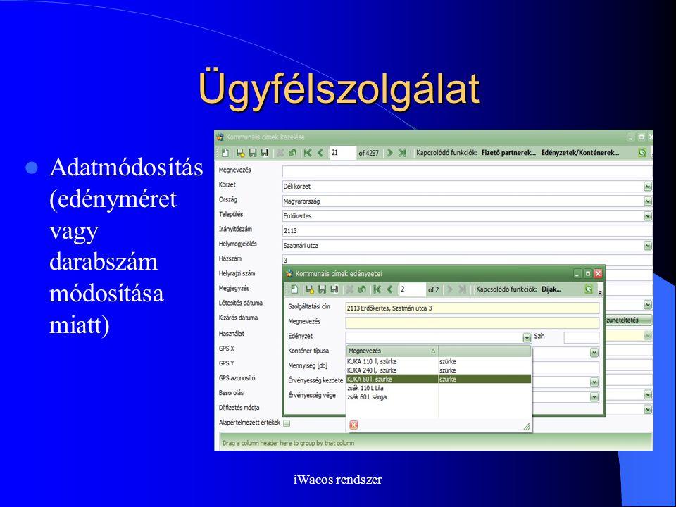 iWacos rendszer Ügyfélszolgálat Adatmódosítás (edényméret vagy darabszám módosítása miatt)