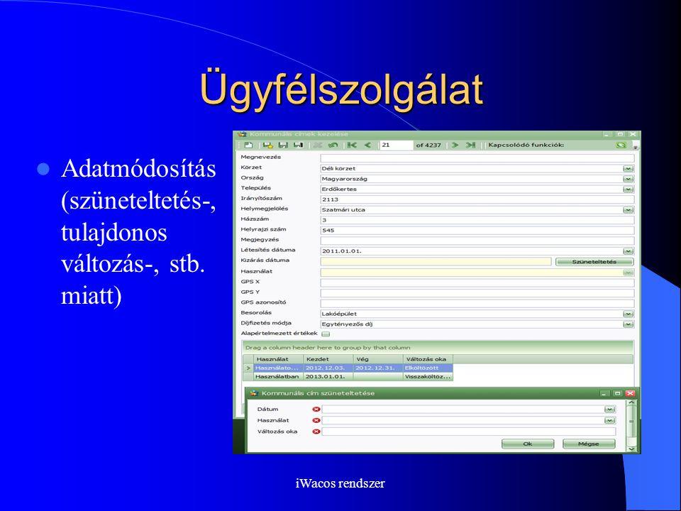 iWacos rendszer Ügyfélszolgálat Adatmódosítás (szüneteltetés-, tulajdonos változás-, stb. miatt)