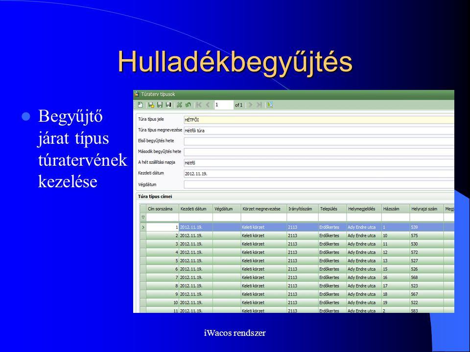 iWacos rendszer Hulladékbegyűjtés Begyűjtő járat típus túratervének kezelése