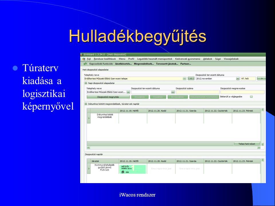 iWacos rendszer Hulladékbegyűjtés Túraterv kiadása a logisztikai képernyővel