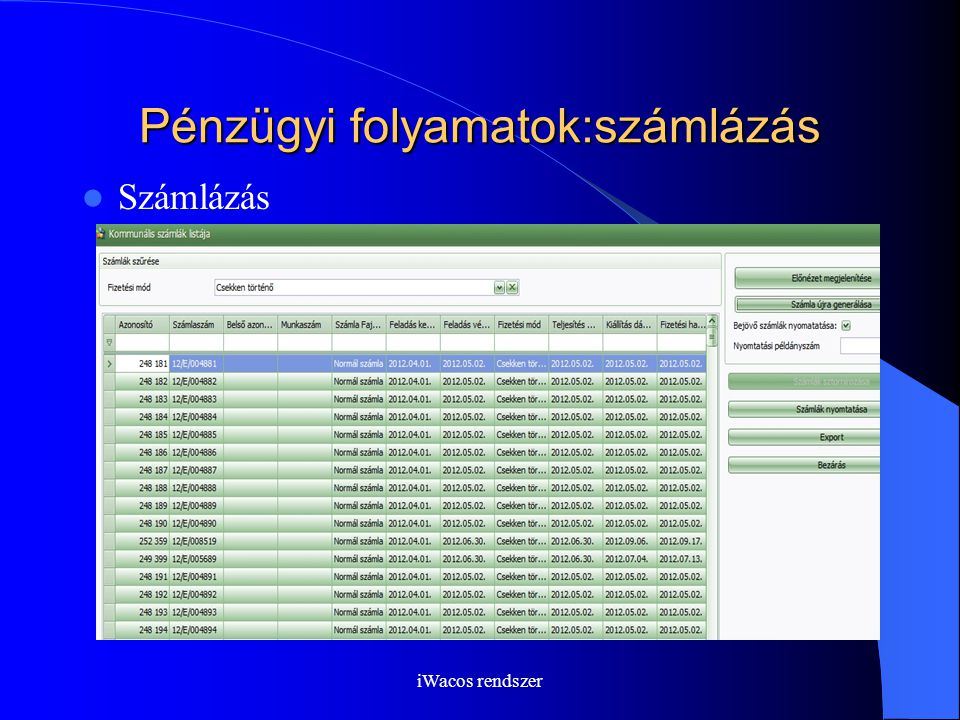 iWacos rendszer Pénzügyi folyamatok:számlázás Számlázás