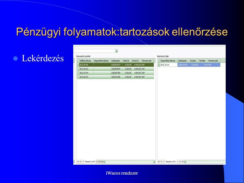 iWacos rendszer Pénzügyi folyamatok:tartozások ellenőrzése Lekérdezés
