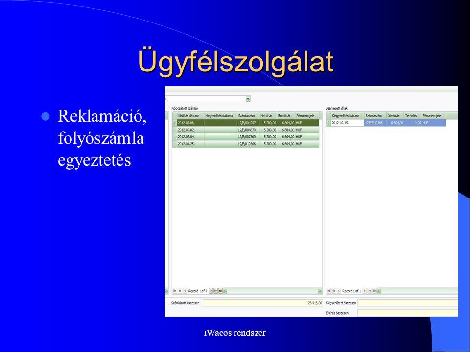 iWacos rendszer Ügyfélszolgálat Reklamáció, folyószámla egyeztetés