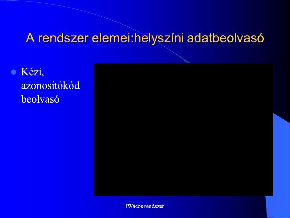 iWacos rendszer A rendszer elemei:helyszíni adatbeolvasó Kézi, azonosítókód beolvasó