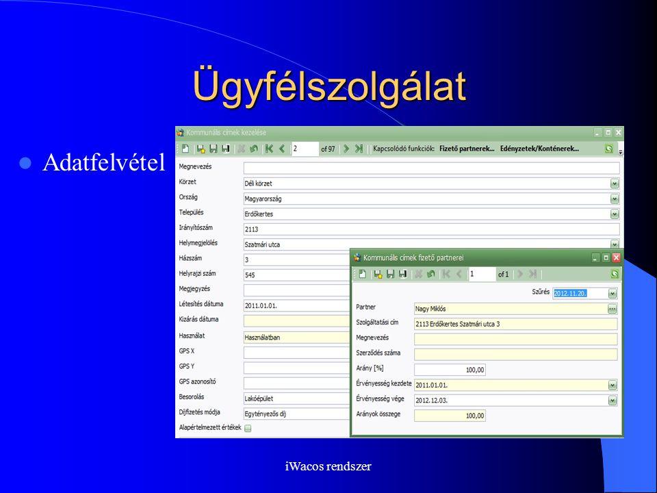 iWacos rendszer Ügyfélszolgálat Adatfelvétel