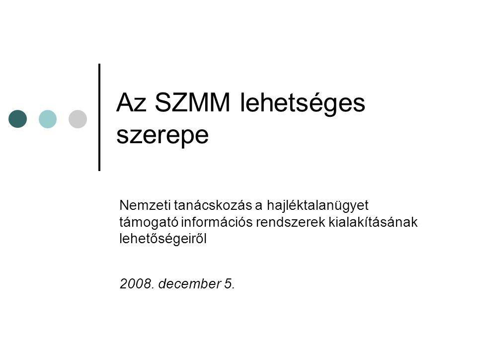 Az SZMM lehetséges szerepe Nemzeti tanácskozás a hajléktalanügyet támogató információs rendszerek kialakításának lehetőségeiről 2008.