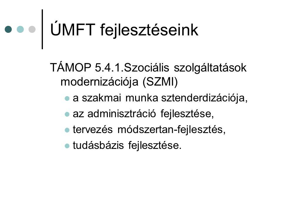 ÚMFT fejlesztéseink TÁMOP 5.4.1.Szociális szolgáltatások modernizációja (SZMI) a szakmai munka sztenderdizációja, az adminisztráció fejlesztése, tervezés módszertan-fejlesztés, tudásbázis fejlesztése.