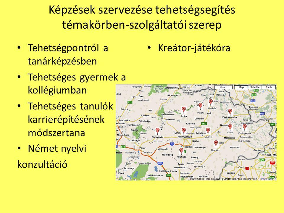 Képzések szervezése tehetségsegítés témakörben-szolgáltatói szerep Tehetségpontról a tanárképzésben Tehetséges gyermek a kollégiumban Tehetséges tanulók karrierépítésének módszertana Német nyelvi konzultáció Kreátor-játékóra