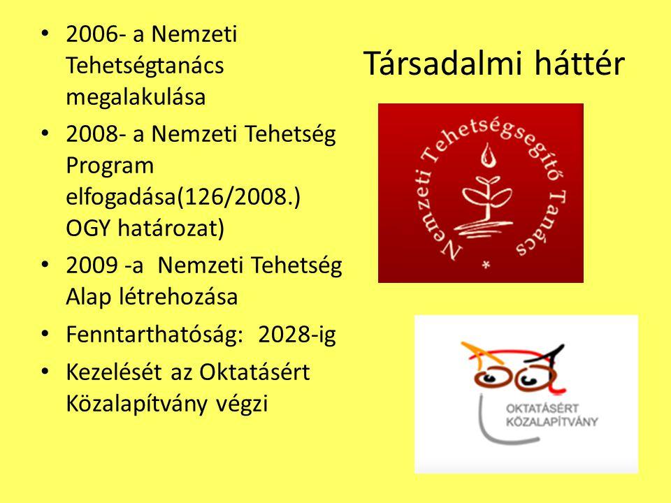 Társadalmi háttér 2006- a Nemzeti Tehetségtanács megalakulása 2008- a Nemzeti Tehetség Program elfogadása(126/2008.) OGY határozat) 2009 -a Nemzeti Tehetség Alap létrehozása Fenntarthatóság: 2028-ig Kezelését az Oktatásért Közalapítvány végzi