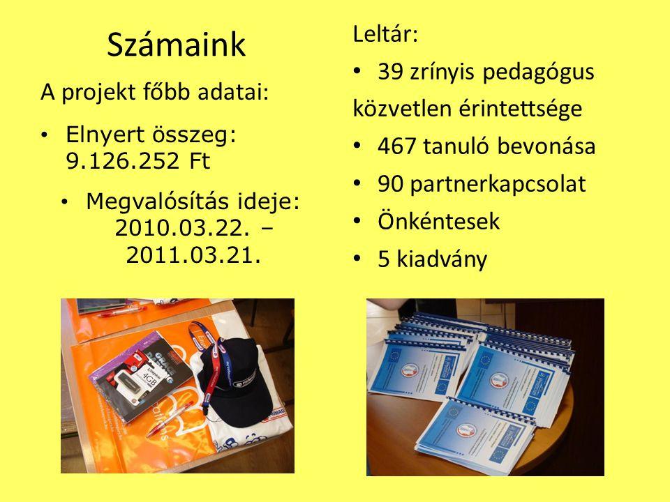 Számaink A projekt főbb adatai: Elnyert összeg: 9.126.252 Ft Megvalósítás ideje: 2010.03.22.