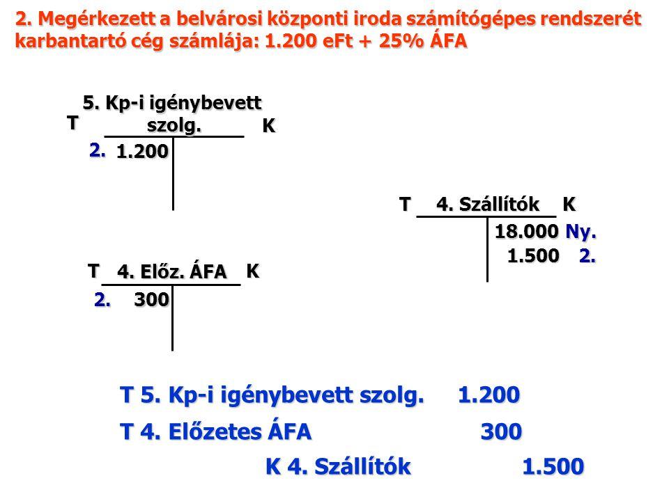 2. Megérkezett a belvárosi központi iroda számítógépes rendszerét karbantartó cég számlája: 1.200 eFt + 25% ÁFA T K 5. Kp-i igénybevett szolg. szolg.
