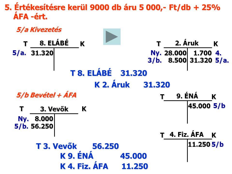 5. Értékesítésre kerül 9000 db áru 5 000,- Ft/db + 25% ÁFA -ért.