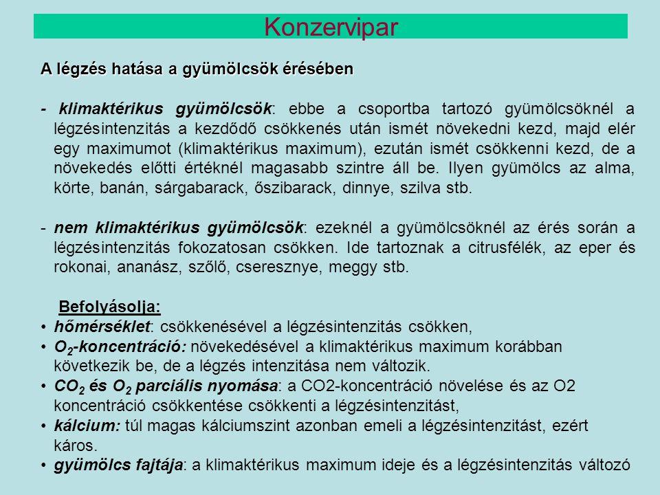 A légzés hatása a gyümölcsök érésében - klimaktérikus gyümölcsök: ebbe a csoportba tartozó gyümölcsöknél a légzésintenzitás a kezdődő csökkenés után i