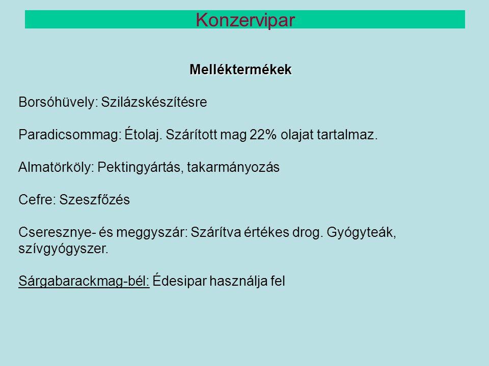 Melléktermékek Borsóhüvely: Szilázskészítésre Paradicsommag: Étolaj. Szárított mag 22% olajat tartalmaz. Almatörköly: Pektingyártás, takarmányozás Cef