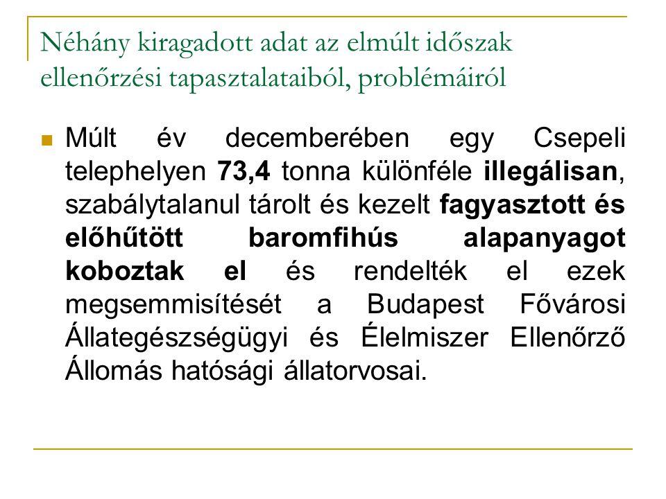 Néhány kiragadott adat az elmúlt időszak ellenőrzési tapasztalataiból, problémáiról Múlt év decemberében egy Csepeli telephelyen 73,4 tonna különféle illegálisan, szabálytalanul tárolt és kezelt fagyasztott és előhűtött baromfihús alapanyagot koboztak el és rendelték el ezek megsemmisítését a Budapest Fővárosi Állategészségügyi és Élelmiszer Ellenőrző Állomás hatósági állatorvosai.