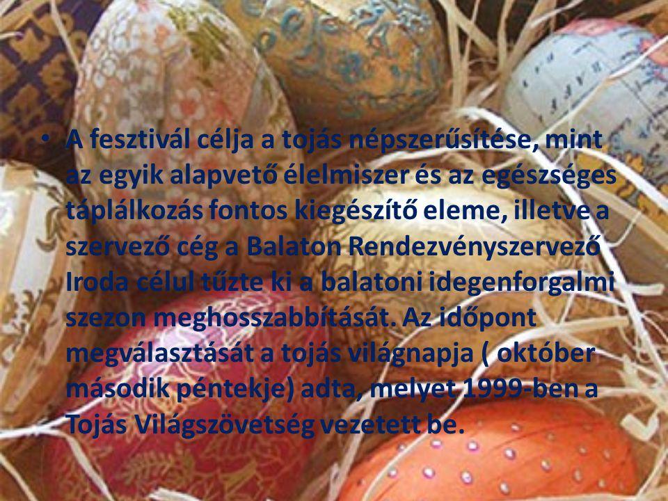 A fesztivál célja a tojás népszerűsítése, mint az egyik alapvető élelmiszer és az egészséges táplálkozás fontos kiegészítő eleme, illetve a szervező cég a Balaton Rendezvényszervező Iroda célul tűzte ki a balatoni idegenforgalmi szezon meghosszabbítását.