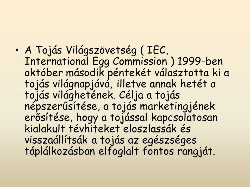 A Tojás Világszövetség ( IEC, International Egg Commission ) 1999-ben október második péntekét választotta ki a tojás világnapjává, illetve annak hetét a tojás világhetének.