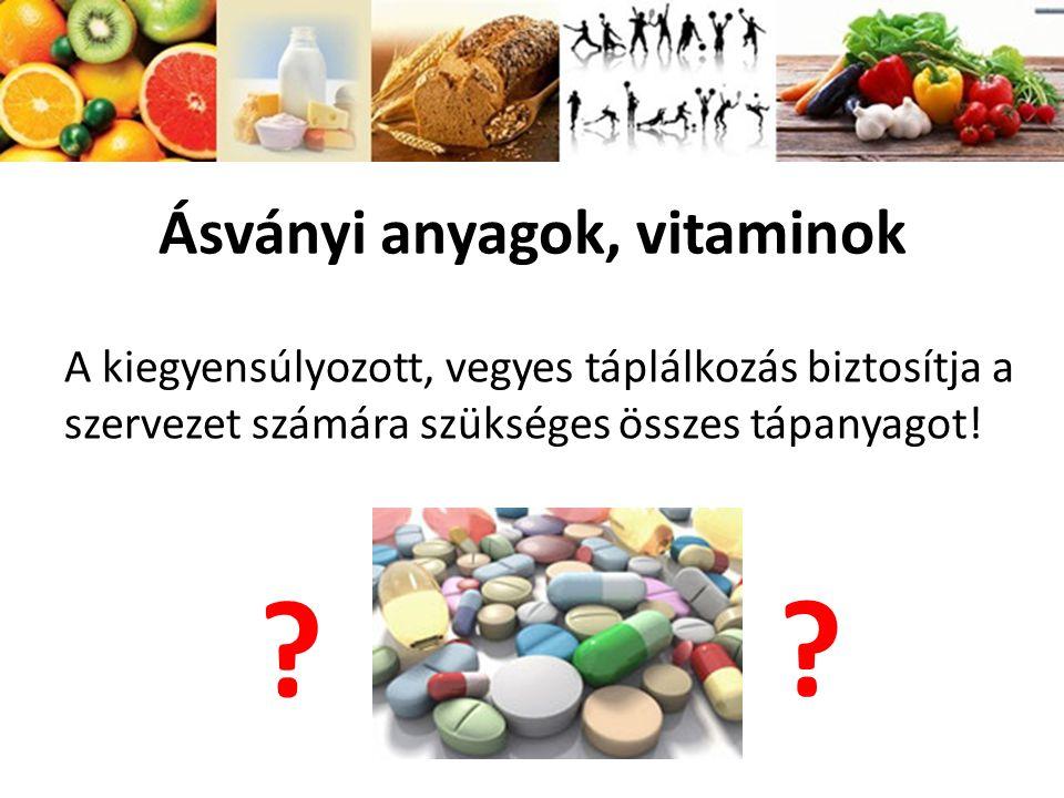 Ásványi anyagok, vitaminok A kiegyensúlyozott, vegyes táplálkozás biztosítja a szervezet számára szükséges összes tápanyagot! ? ?