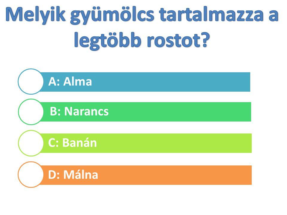 A: Alma B: Narancs C: Banán D: Málna
