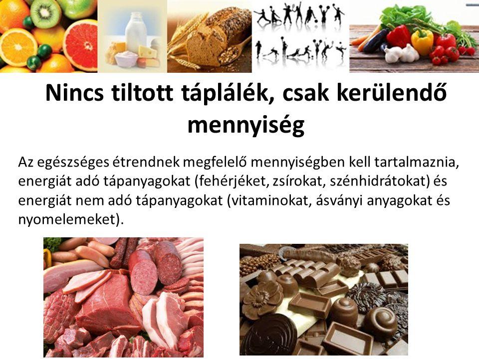 Nincs tiltott táplálék, csak kerülendő mennyiség Az egészséges étrendnek megfelelő mennyiségben kell tartalmaznia, energiát adó tápanyagokat (fehérjék