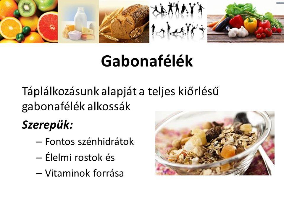 Gabonafélék Táplálkozásunk alapját a teljes kiőrlésű gabonafélék alkossák Szerepük: – Fontos szénhidrátok – Élelmi rostok és – Vitaminok forrása