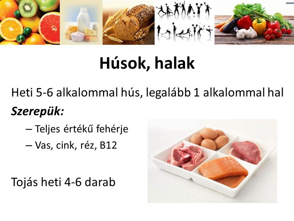 Húsok, halak Heti 5-6 alkalommal hús, legalább 1 alkalommal hal Szerepük: – Teljes értékű fehérje – Vas, cink, réz, B12 Tojás heti 4-6 darab