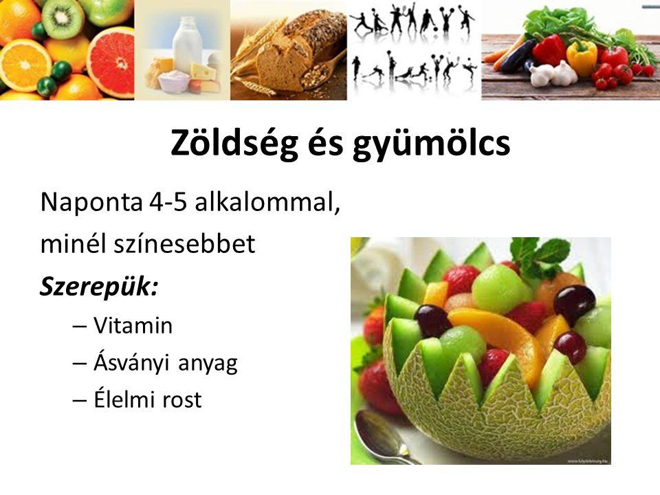 Zöldség és gyümölcs Naponta 4-5 alkalommal, minél színesebbet Szerepük: – Vitamin – Ásványi anyag – Élelmi rost