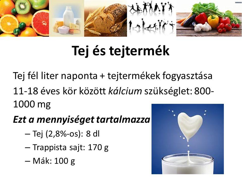 Tej és tejtermék Tej fél liter naponta + tejtermékek fogyasztása 11-18 éves kör között kálcium szükséglet: 800- 1000 mg Ezt a mennyiséget tartalmazza