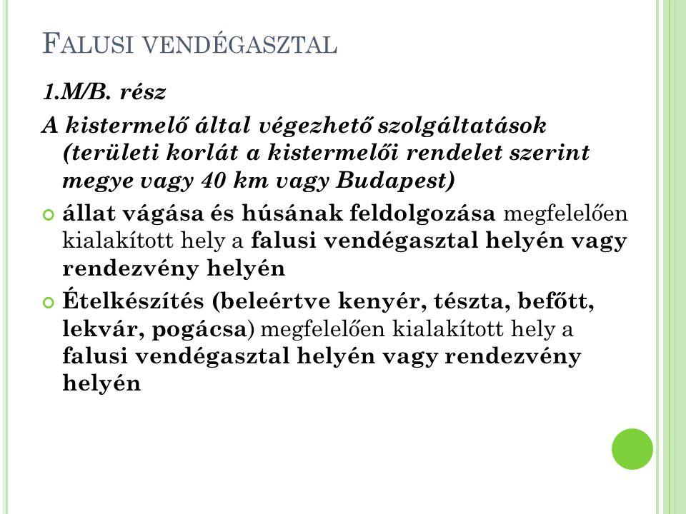 F ALUSI VENDÉGASZTAL 1.M/B. rész A kistermelő által végezhető szolgáltatások (területi korlát a kistermelői rendelet szerint megye vagy 40 km vagy Bud