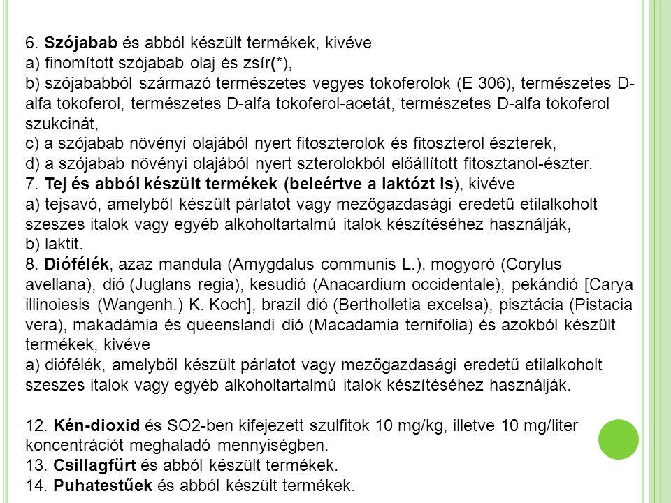 6. Szójabab és abból készült termékek, kivéve a) finomított szójabab olaj és zsír(*), b) szójababból származó természetes vegyes tokoferolok (E 306),