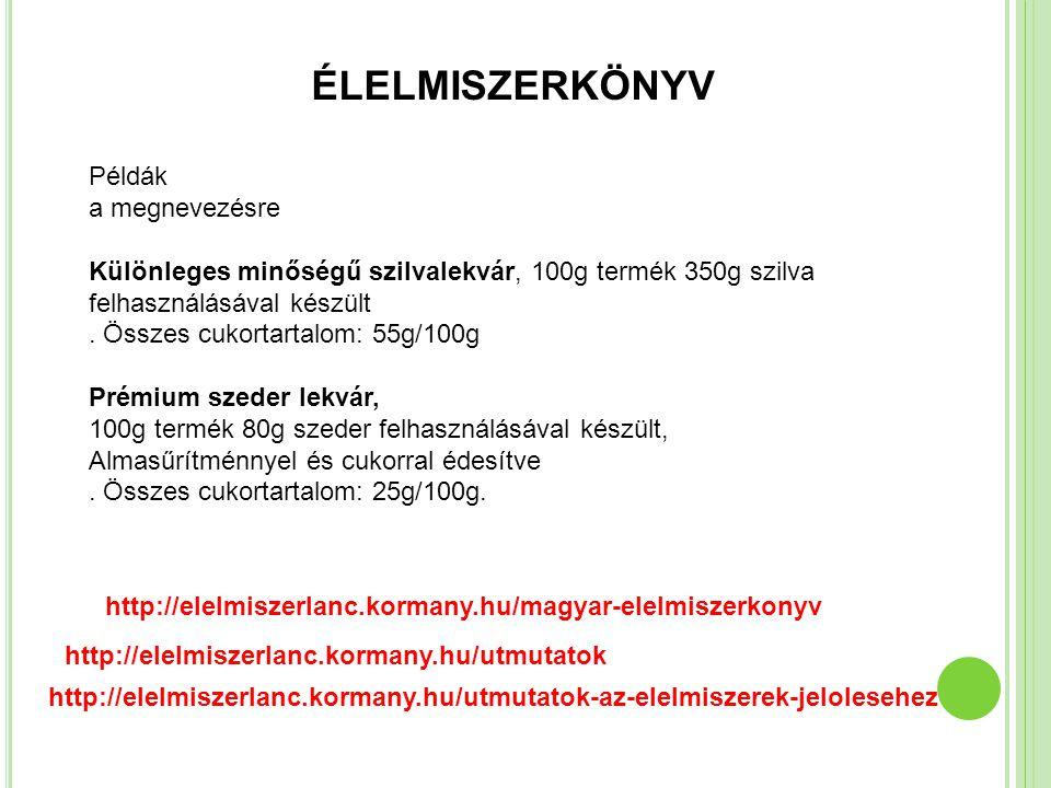 ÉLELMISZERKÖNYV Példák a megnevezésre Különleges minőségű szilvalekvár, 100g termék 350g szilva felhasználásával készült. Összes cukortartalom: 55g/10