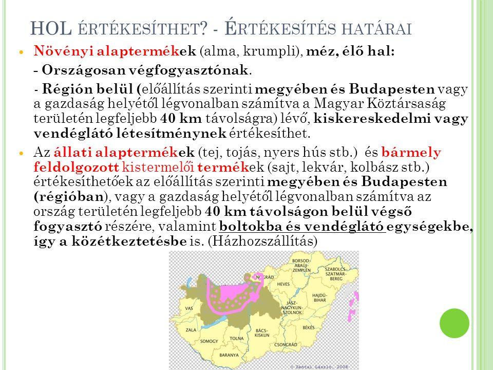 N YILVÁNTARTÁSOK EÜ kiskönyv Kistermelői /őstermelői reg.