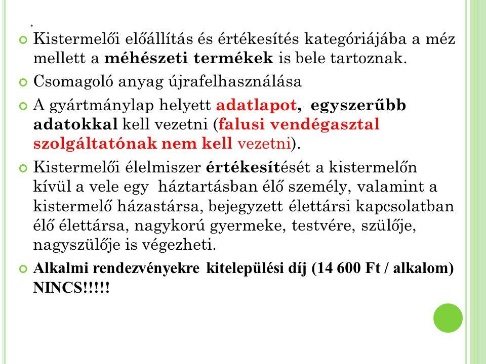 ADATLAP MINTA a) A kistermelő neve, címe Példa Jázmin 1234 Település, utca, 01.