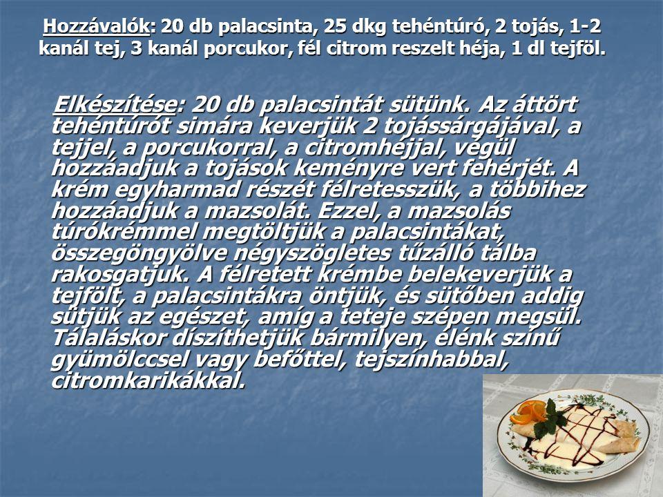 Hozzávalók: 20 db palacsinta, 25 dkg tehéntúró, 2 tojás, 1-2 kanál tej, 3 kanál porcukor, fél citrom reszelt héja, 1 dl tejföl. Elkészítése: 20 db pal