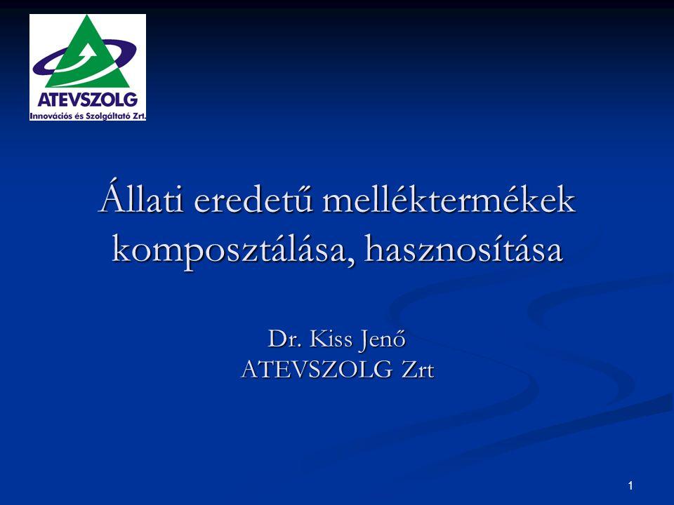 1 Állati eredetű melléktermékek komposztálása, hasznosítása Dr. Kiss Jenő ATEVSZOLG Zrt