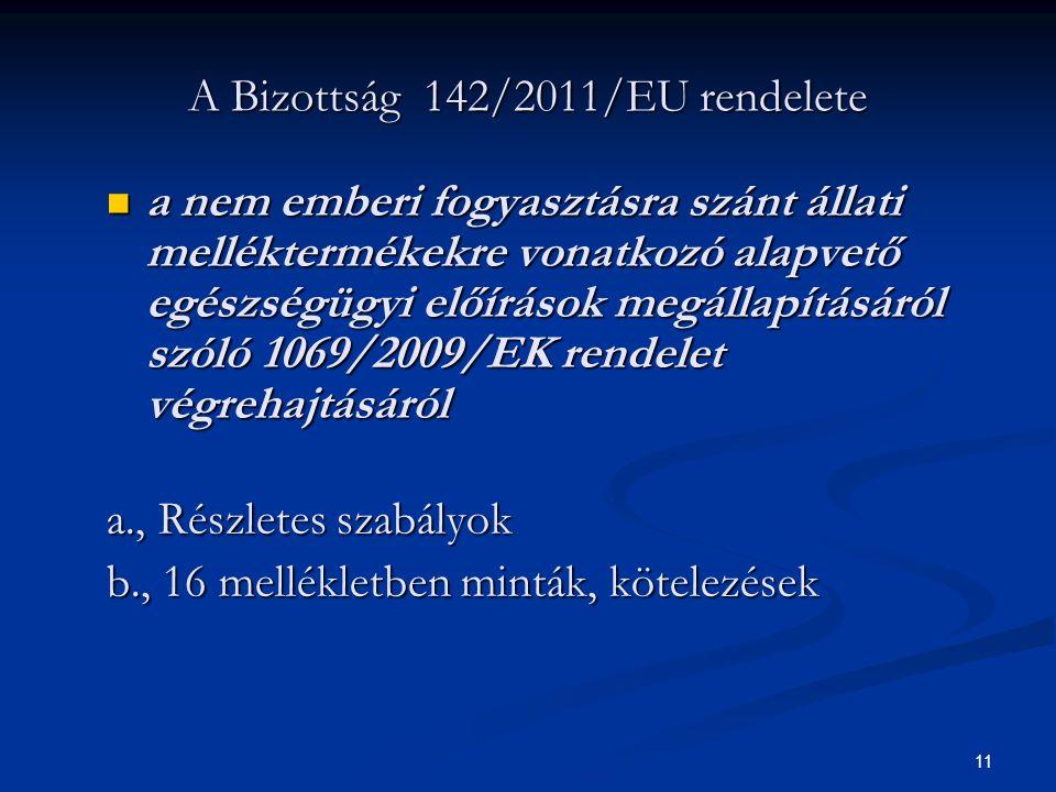 10 Az Európai Parlament és a Tanács 1069/2009/EK rendelete a nem emberi fogyasztásra szánt állati melléktermékekre vonatkozó alapvető egészségügyi előírások megállapításáról a nem emberi fogyasztásra szánt állati melléktermékekre vonatkozó alapvető egészségügyi előírások megállapításáról a., Állati hulladékok osztályozása, gyűjtése, szállítása, ártalmatlanítása, feldolgozása, felhasználása, közbenső tárolása b., Gyűjtő, tároló, feldolgozó üzemek engedélyezésével kapcsolatos előírások c., Feldolgozott állati fehérjék forgalomba hozatala, felhasználása