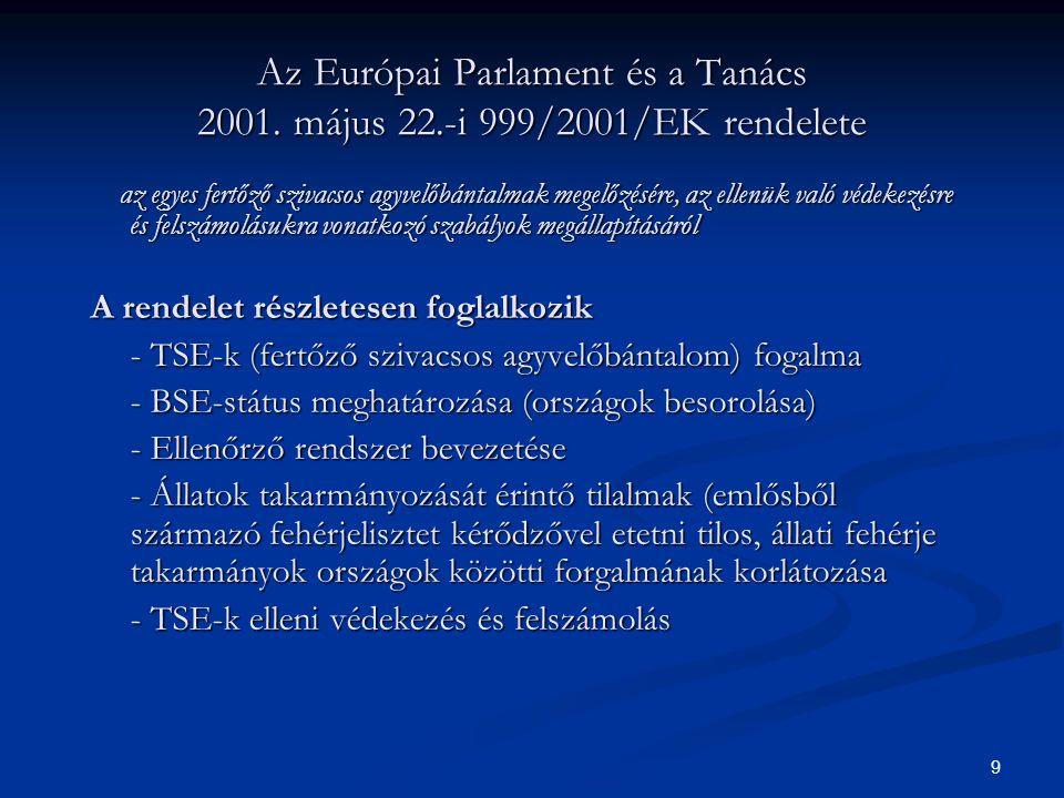 8 Az állati melléktermékek ártalmatlanítását szabályozó rendeletek Európai Unió főbb jogszabályai Európai Unió főbb jogszabályai Hazai jogszabályok Hazai jogszabályok
