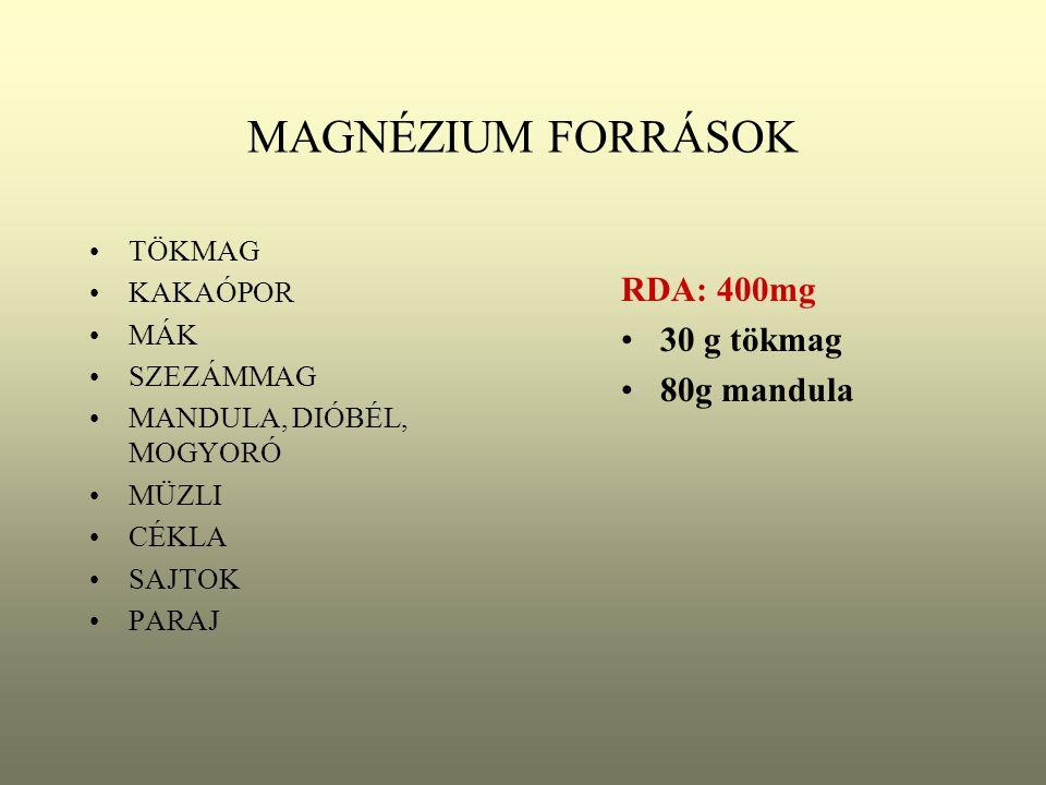 KALCIUM FORRÁSOK TEJPOR MÁK SAJTFÉLÉK MANDULA, MOGYORÓ, DIÓBÉL TEJ TOJÁS CSOKOLÁDÉ KÓKUSZ PARAJ RDA: 800 mg 8 dl tej 10 dkg sajt 80 g mák
