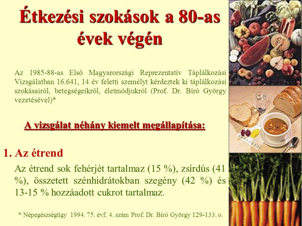 Étkezési szokások a 80-as évek végén Az 1985-88-as Első Magyarországi Reprezentatív Táplálkozási Vizsgálatban 16.641, 14 év feletti személyt kérdeztek ki táplálkozási szokásairól, betegségeikről, életmódjukról (Prof.