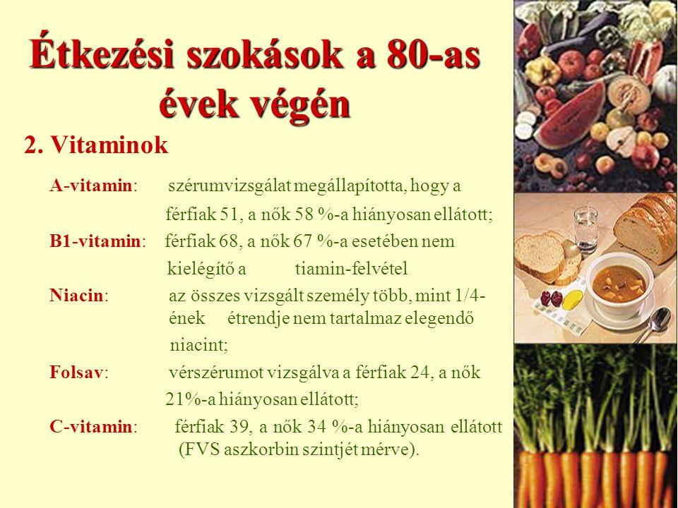 VITAMINOK ÉS ÁSVÁNYI SÓK A vitamin  a szervezet védekezőmechanizmusában vesz részt  csontnövekedés, növekedés  látás - szaruhártya épsége  hámszövet differenciálódása D vitamin  kalcium beépülés a csontokba  foszor anyagcsere szabályozás E vitamin  oxigén tartalmú szabadgyökök elleni védekező rendszer alkotóeleme