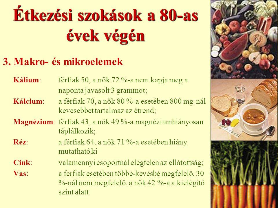 Étkezési szokások a 80-as évek végén 2. Vitaminok A-vitamin:aszérumvizsgálat megállapította, hogy a férfiak 51, a nők 58 %-a hiányosan ellátott; B1-vi